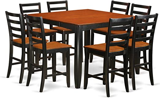 Amazon Com 9 Pc Pub Table Set Square Counter Height Table And 8 Dining Chairs Table Chair Sets