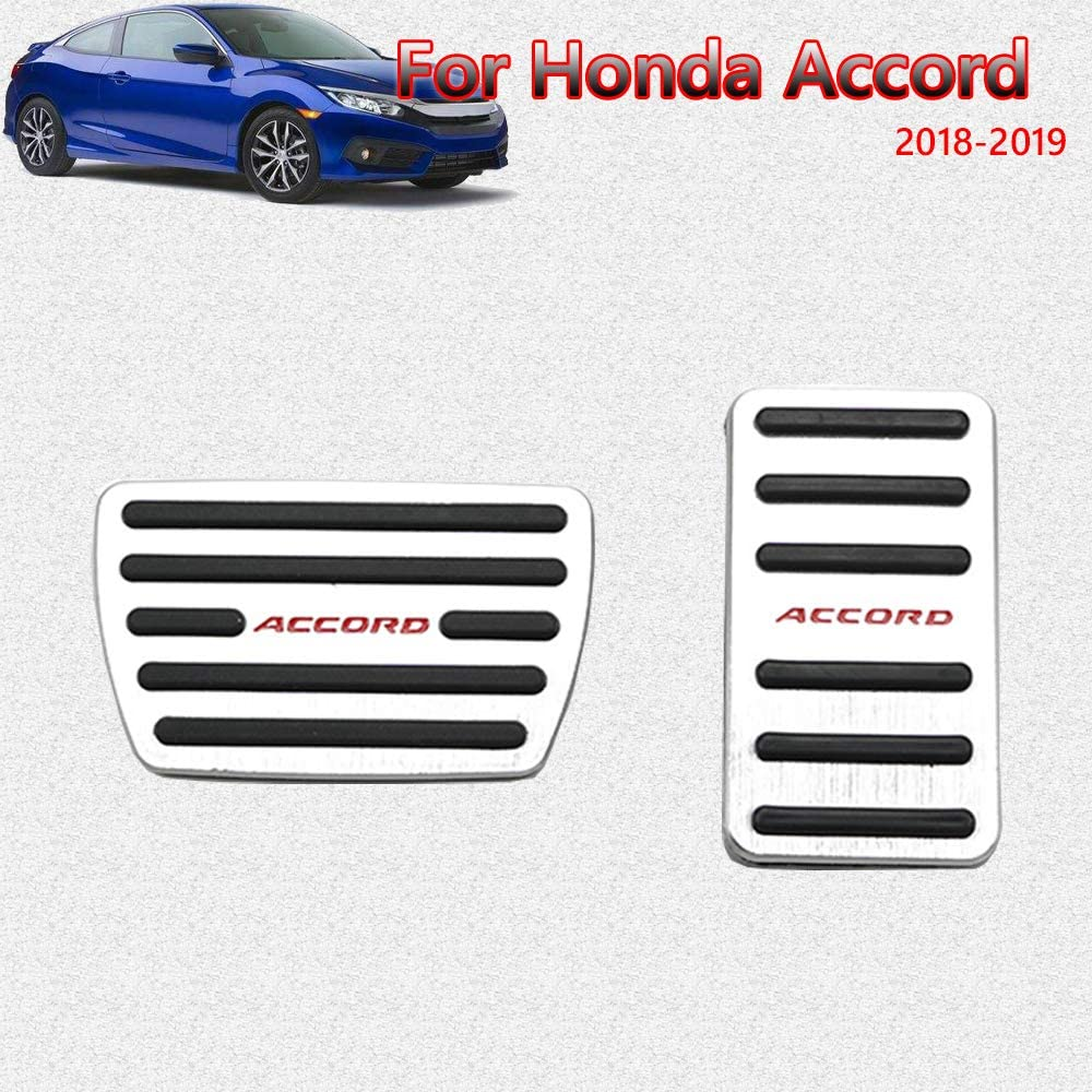 2016 2017 2018 2019 2020 for Honda 10th Civic Great-luck aluminium alloy Pedal Covers,Accelerator Pedals Brake Foot Pedal Pads with Rubber Pull Tabs 2 pieces silver