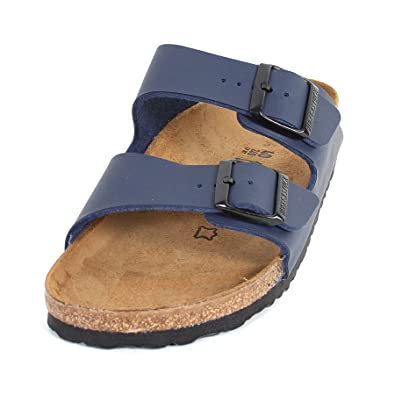 b79419aae Amazon.com | Birkenstock Women's Arizona Narrow Fit Buckle Sandal  Blue-Blue-7 | Slides