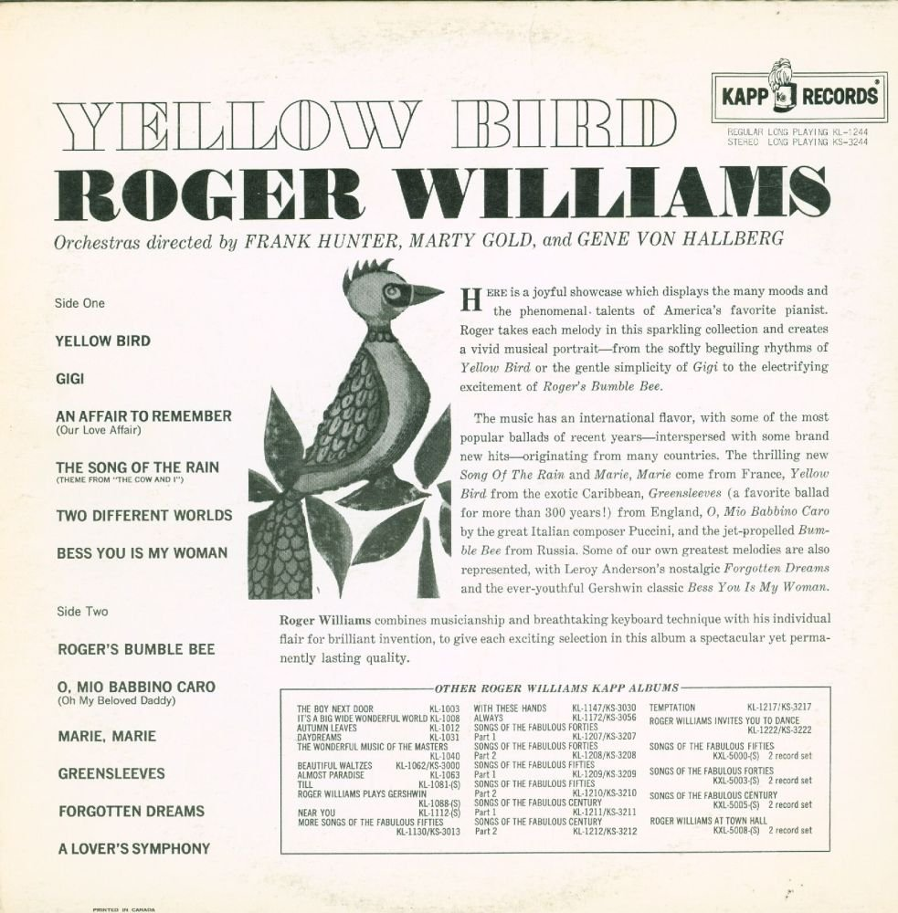 Roger Williams - Yellow Bird - Amazon.com Music