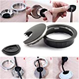 HJ Garden 1pc 2 inch (50mm) Metal Desk Grommets for Managing and Hiding Wire Cord Cable Hole Cover Office PC Desk Cable Cord Organizer Zinc Alloy Cover Black