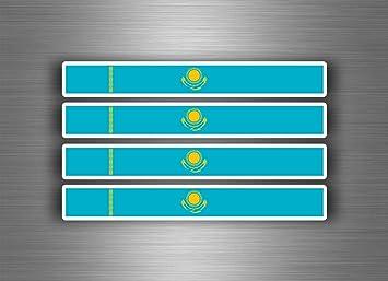Akachafactory 4 X Selbstklebend Sticker Auto Moto Stripes Flagge Tuning Kasachstan Auto