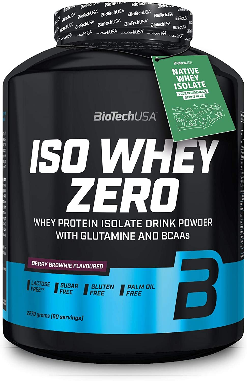 BioTechUSA Iso Whey ZERO, Lactose, Gluten, Sugar FREE, Whey Protein Isolate, 2.27 kg, Berry Brownie