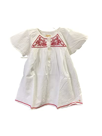 8e04add046be Amazon.com  Pink Chicken Happy by White With Red Embroidery Dress ...