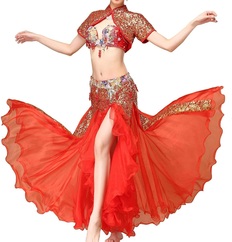 女性のベリーダンスパフォーマンス衣装ブラスカートスーツ、スパンコールコート/サイドスプリットスカートスイング3ピース (Color : 赤, Size : L) 赤 Large