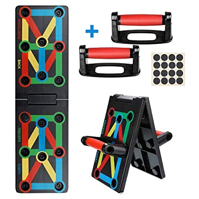Power Press Push Up Bars Board System, 12-in-1 Portable Color Coded Push-Up Stands Board Work Out Equipment for Men Women Home Workouts: Kitchen & Dining