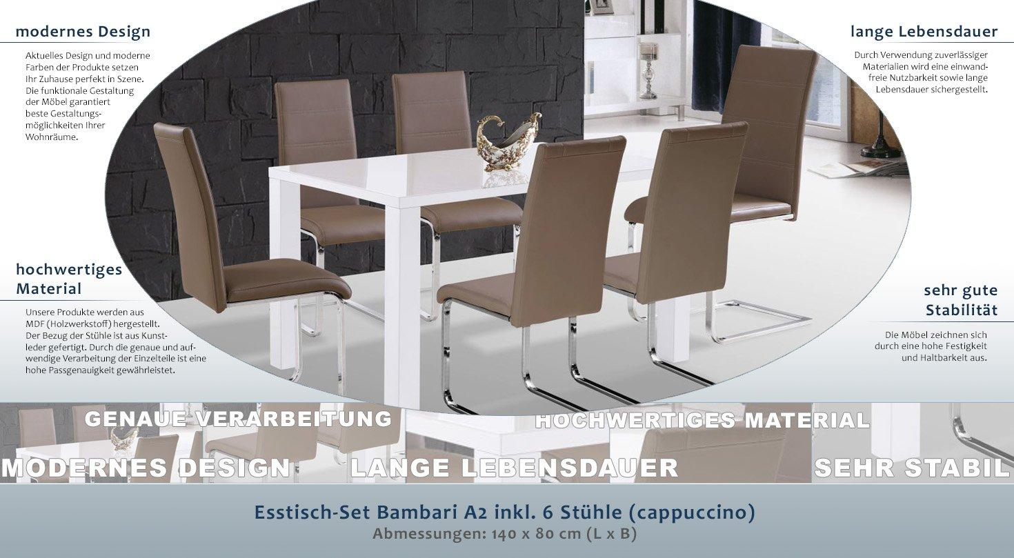 Esstisch-Set Bambari A2 inkl. 6 Stühle (cappuccino) - 140 x 80 (L x ...