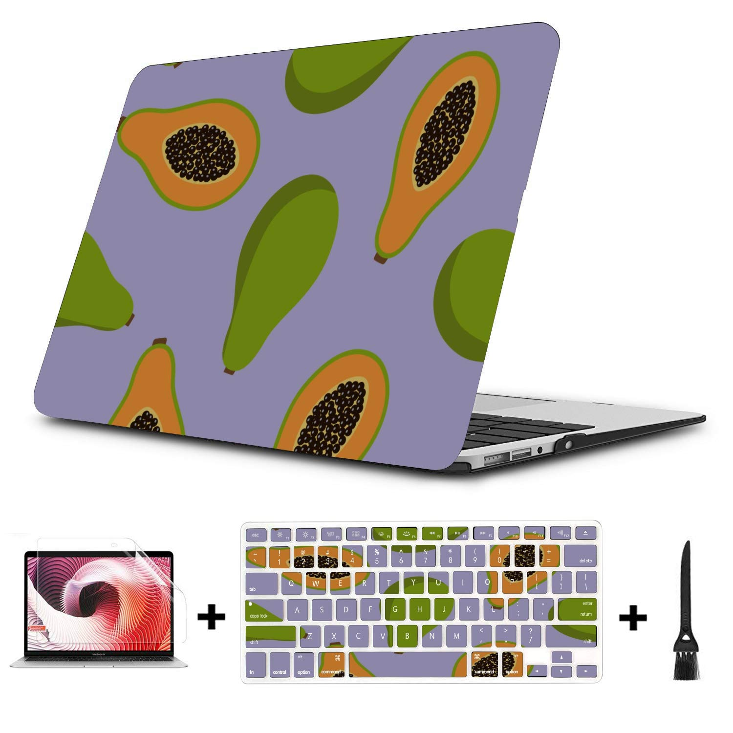 MacBook Air 13 Accessories Summmer Cute Fashion Fruit Papaya Plastic Hard Shell Compatible Mac Air 11 Pro 13 15 MacBook Pro Case 2018 Protection for MacBook 2016-2019 Version