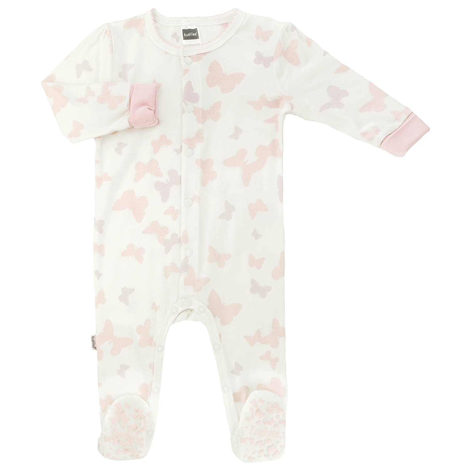 Kushies Baby Girls Snap Front Sleeper, Light Pink Print, Preemie L16160006