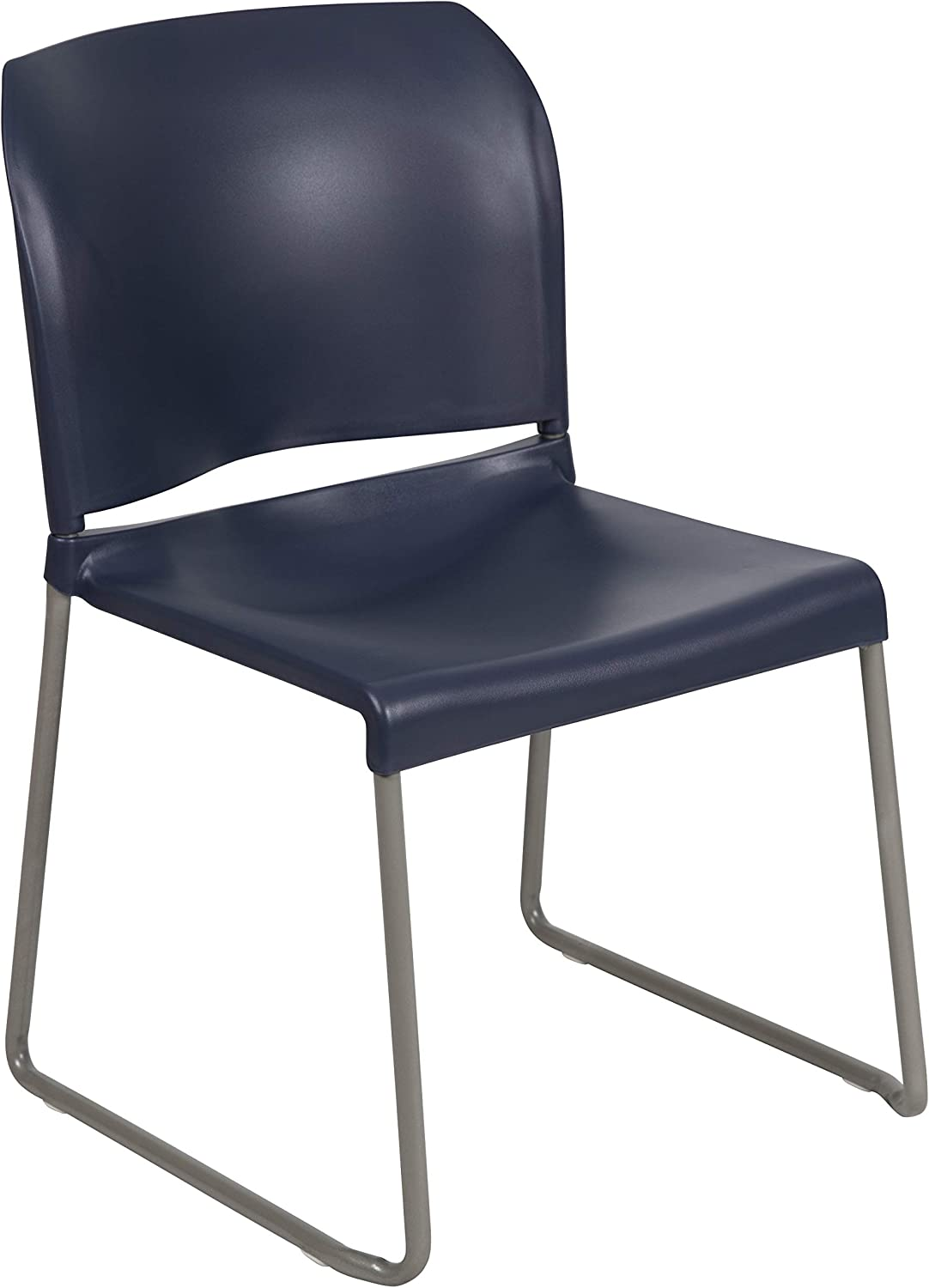 Flash Furniture HERCULES Series 880 lb. Capacity Navy Full Back Contoured Stack Chair with Gray Powder Coated Sled Base