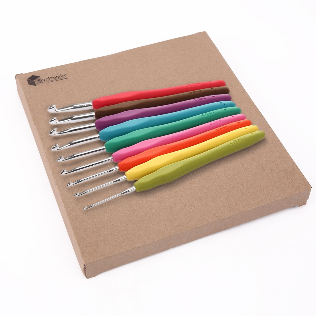9pcs Colorful Soft Plastic Handle Aluminum Crochet Hooks Needles 2mm-6mm Knitting Knit Yarn Weave Craft UK Ship SurePromise Limited HOUSWEETYB38586