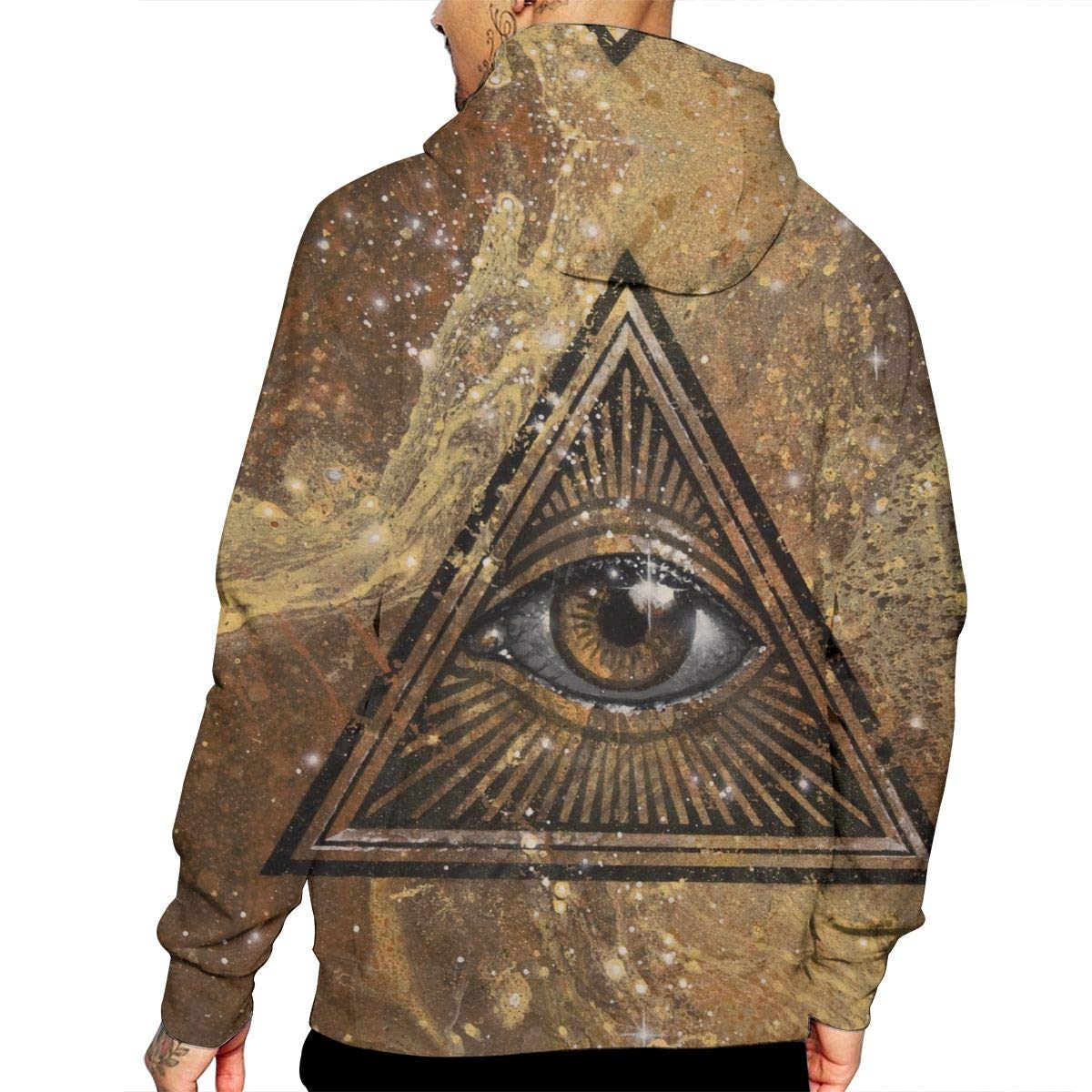 YUANSHAN All Seeing Eye Mans Long Sleeve Hoodie Casual Pocket Hooded Sweatshirt