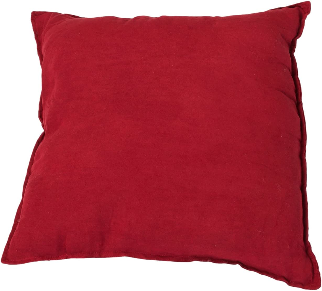 Hudson Street Faux Suede 2-Pack Decorative Pillow, 22 by 22-Inch, Crimson