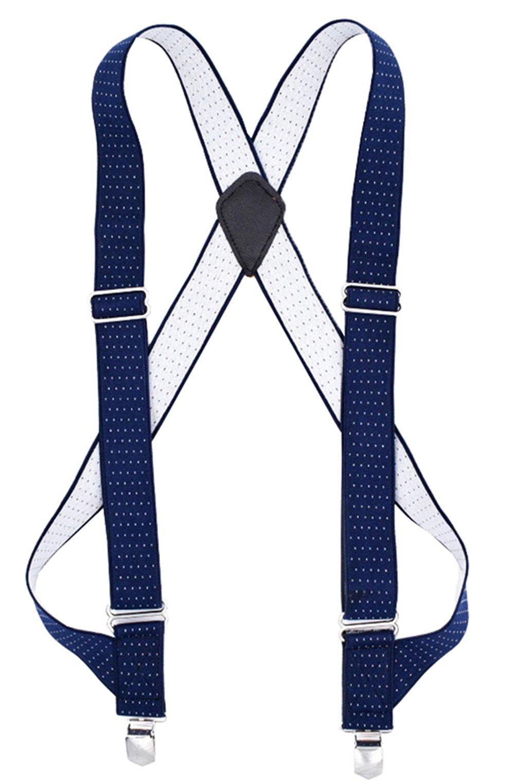 MENDENG Trucker Side Clip Suspenders Polka Dot No-slip Elastic Adjustable Braces