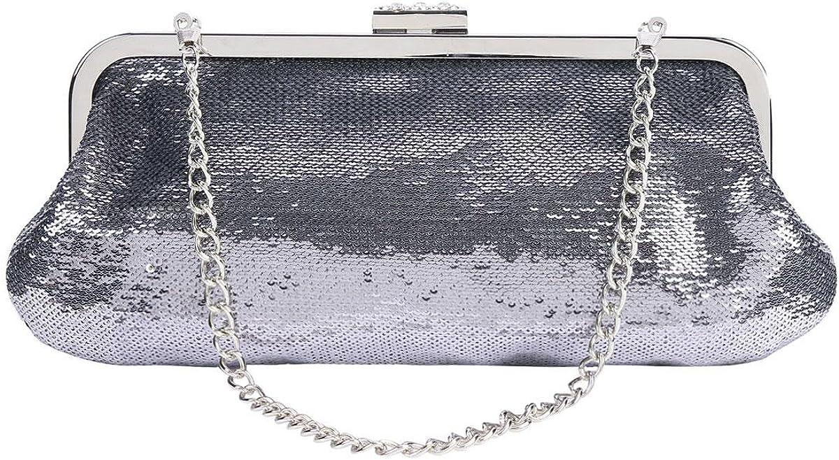 Damara Womens Sequins Metel Frame Baguette Clutch Bags