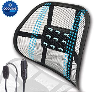 Big Ant 12V Cooling Lumbar Support, Back Support Car Mesh Chair Support Ergonomic Designed for Comfort and Lower Back Pain Relief - Lumbar Back Support for Car Home Office