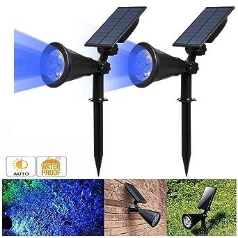 Proyector solar, IP65 impermeable 4 luces solares LED luz de pared ...