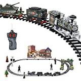 Haktoys Radio Control Military Simulation R/C Train Set with Real Smoke, LED Lights, Sound and Bonus Figurine Pack