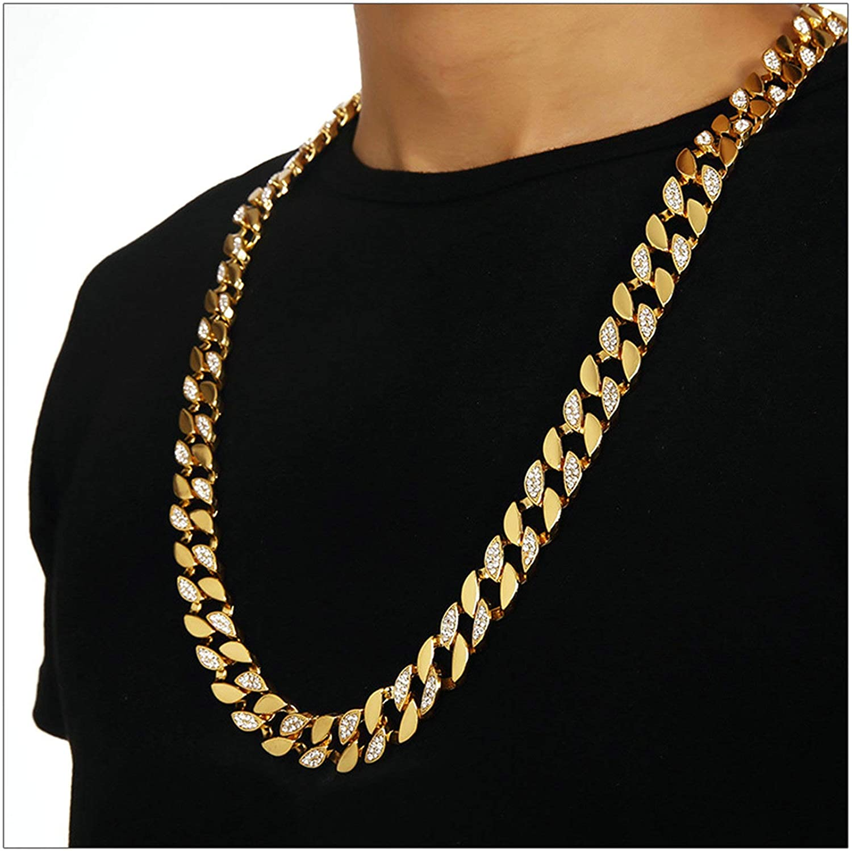 ANAZOZ Alloy Necklace 75CM Hip Hop Cubic Zirconia Gold Curb Chain Cubic Zirconia White Necklace for Men