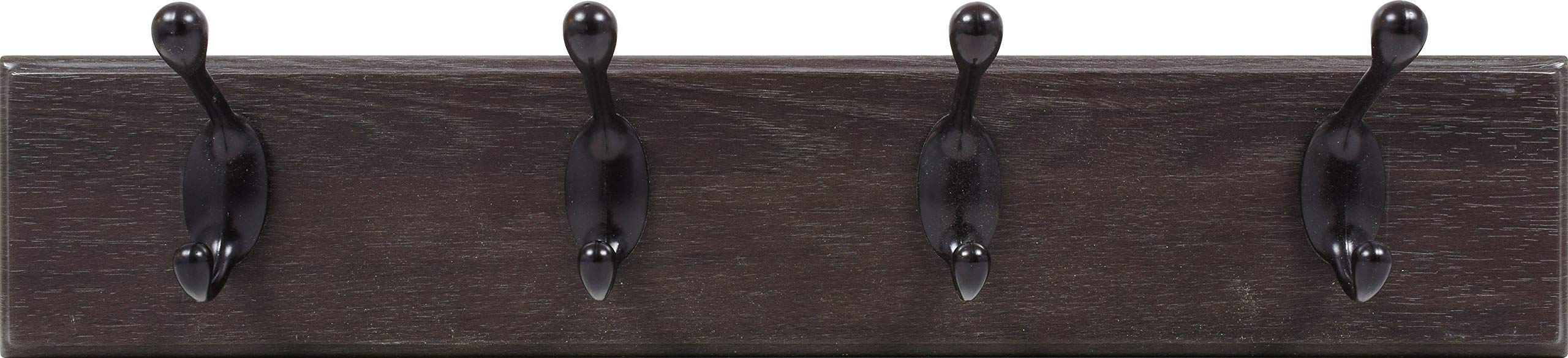 HIGH & MIGHTY 515715 Tool Free Coat Rack with 4 Hooks, 18'', Espresso