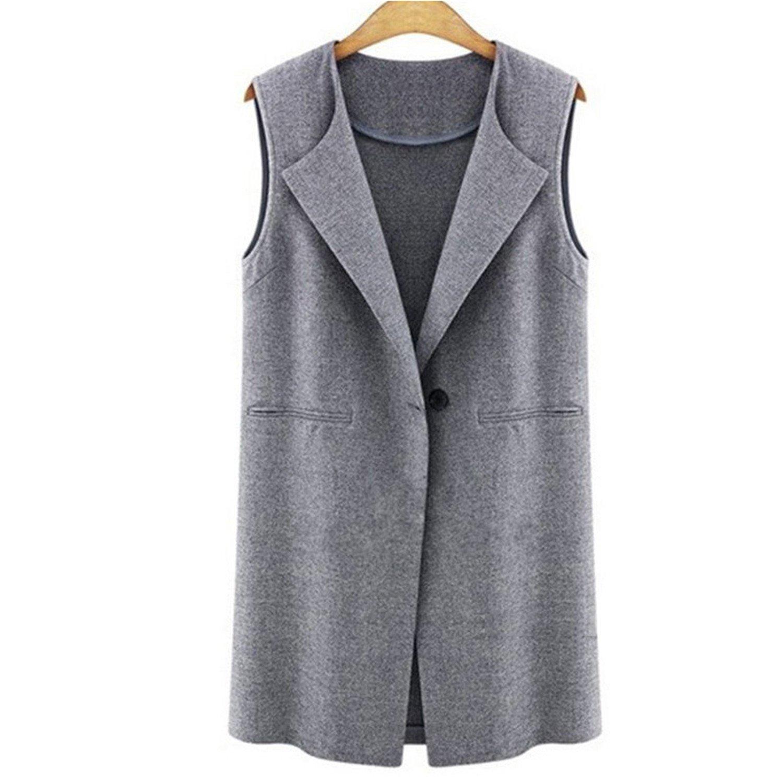 Nicholas Wit Fashion Women Vest Coat Sleeveless Button Long Outwear Cardigan Casual Tops Jacket Plus Sizes Gray XL