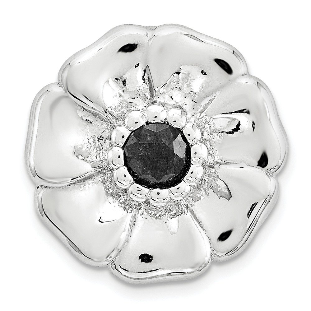 Sterling Silver Small Polished Black Sapphire Flower Chain Slide