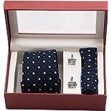 Vibhavari Men's Blue Tie, Pocket Square & Cuff links - Set