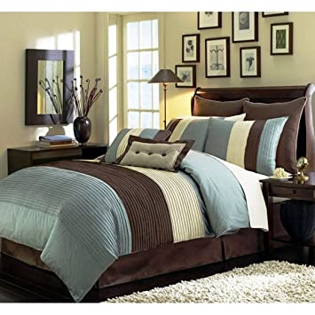 8 Pieces Beige, Blue And Brown Stripe Comforter (104u0026quot;x92u0026quot;) Bed