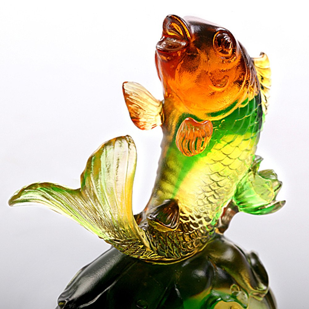 LIULI Crystal Art Fish Home Decor Paperweight Decoration for Fortune Wealth Success Prosperity [Somersault to the Top] by LIULI Crystal Art (Image #2)