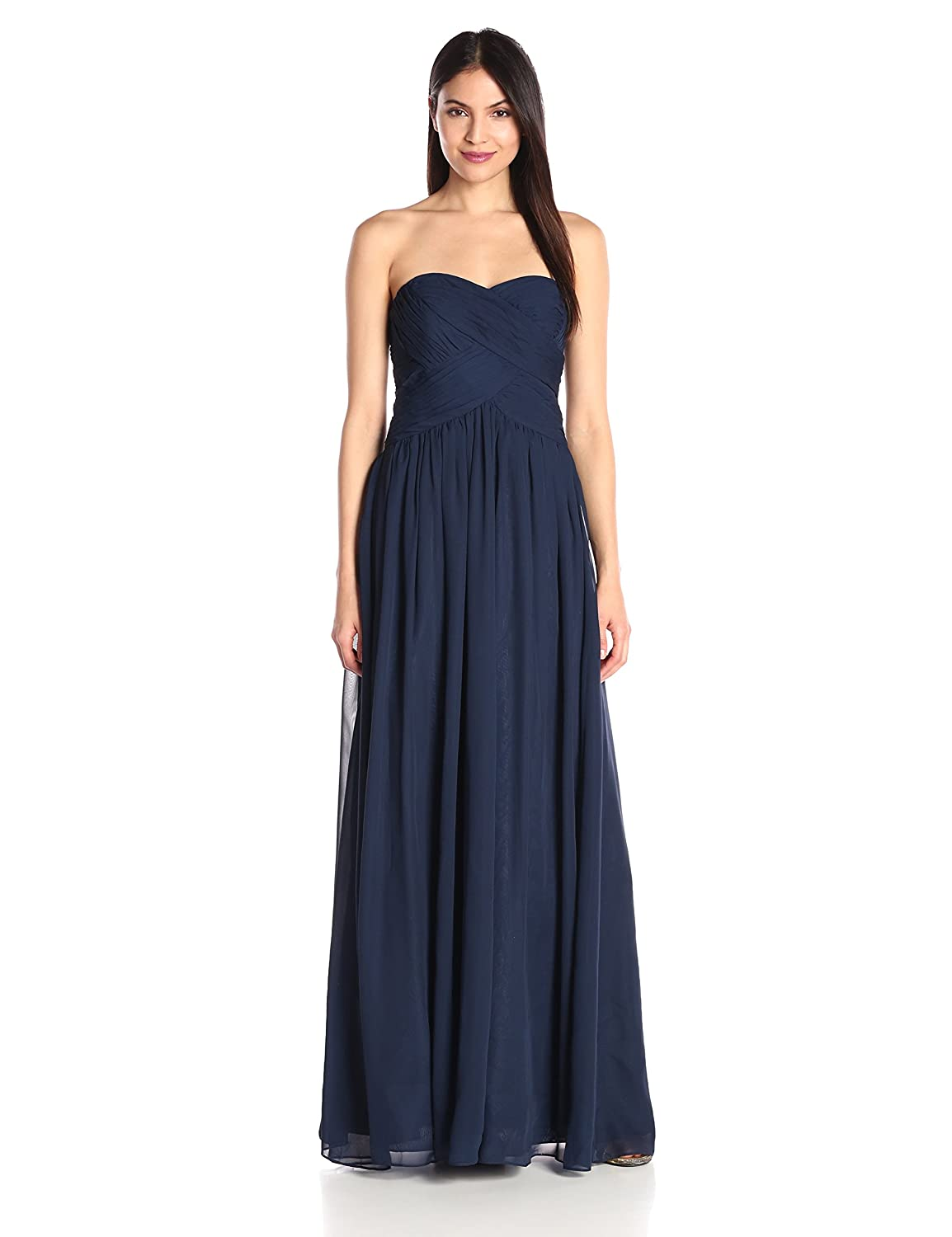 JS Boutique Women\'s Strapless Ruched Bodice Chiffon Gown at Amazon ...
