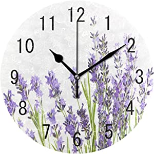 ALAZA Home Decor Watercolor Lavender Flower Round Acrylic 9.5 Inch Wall Clock Non Ticking Silent Clock Art for Living Room Kitchen Bedroom