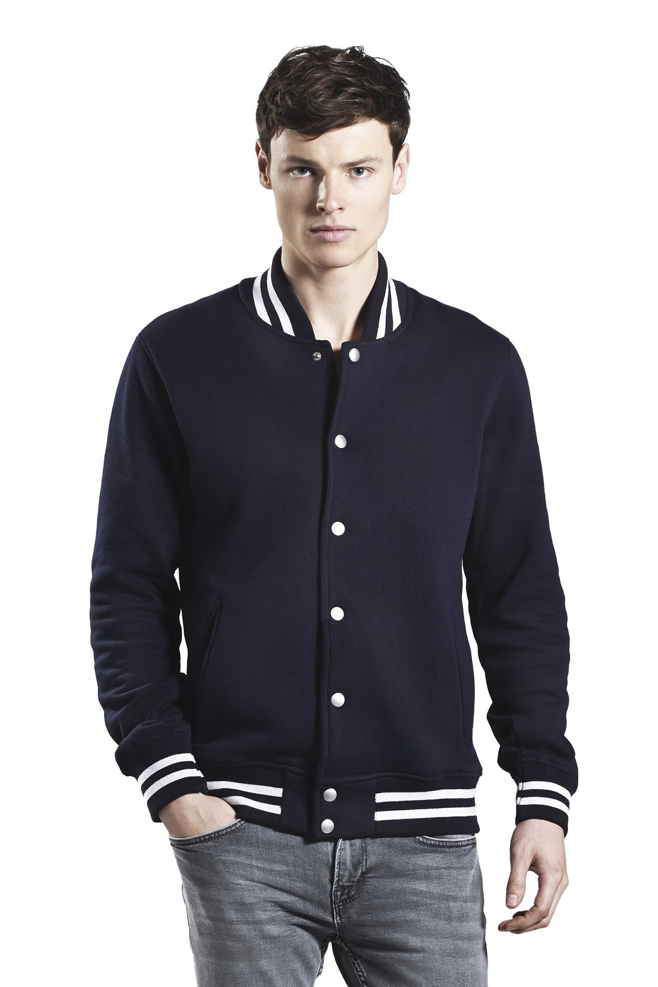 Black Varsity Jacket for Men   100% Organic Cotton Lightweight Unisex   Large by Underhood of London