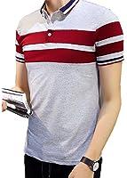[ファンノシ]Fanessy ポロシャツ メンズ 半袖 ストライプ ボーダー お洒落な重ね着スタイル 涼しい 通気性 速乾性 薄手 吸汗 夏 polo カジュアル スポーツウェア ゴルフウェア シンプル 人気 ファッション カッコイイ Tシャツ
