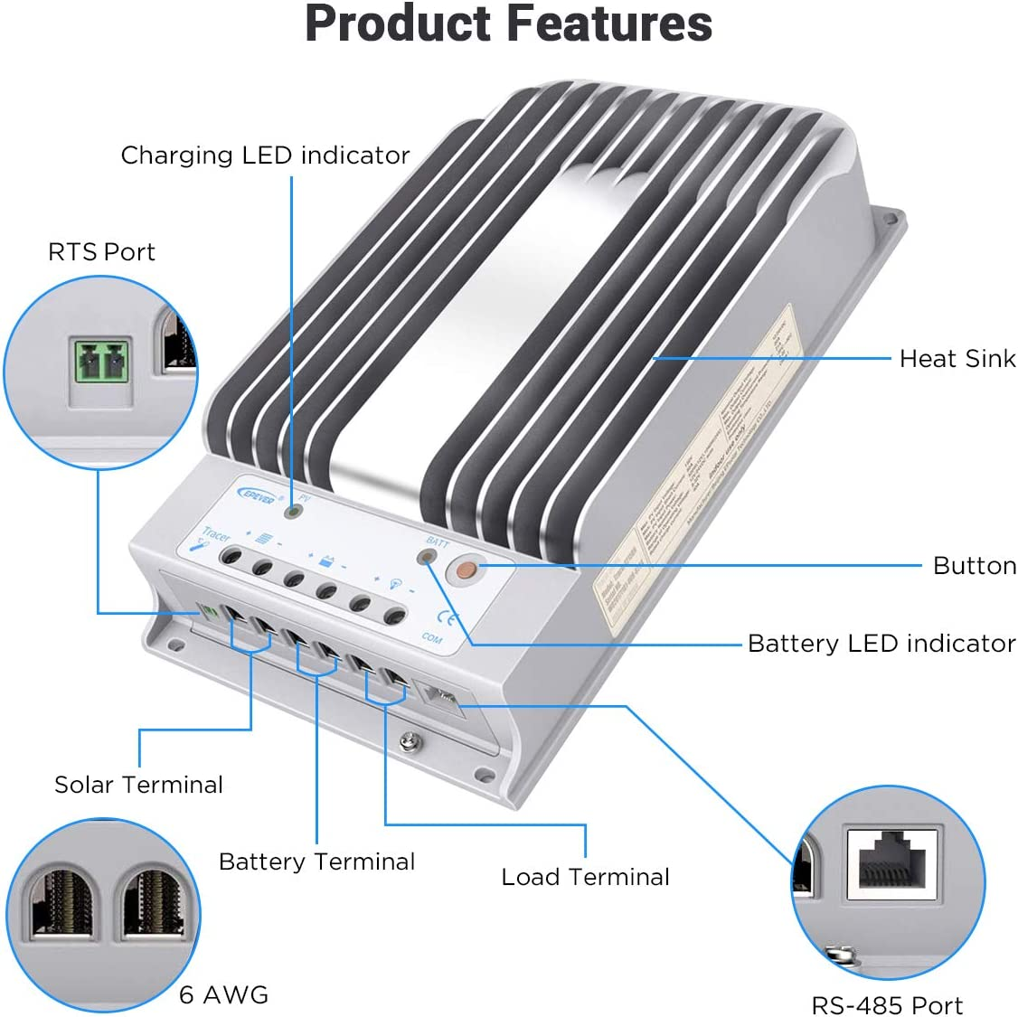 EPEVER 40A MPPT Solar Charge Controller 12V//24V Auto Working Max.PV 150V Solar Panel Charge Regulator Tracer BN Series Negative Ground Solar Controller