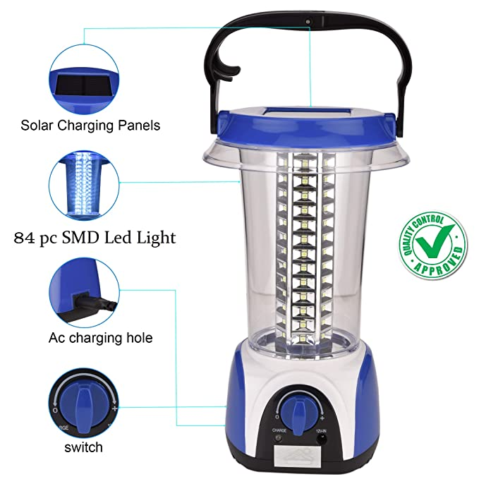 DOCOSS-ABS Solar Emergency Lights for Home Rechargeable 84 PC led Emergency Light SMD Led High Power Emergency Lantern(Red Or Blue)