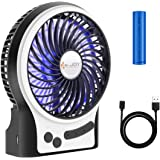 Security Personal Table Fan, USB or Battery Operated Desk Fans Small Quiet, with LED Lights, 3 Speeds, 2-8Hours Working Time,  Portable Mini Desktop Fan for Home, Office, Travel