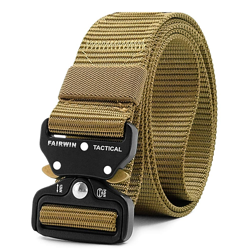 Fairwin Tactical Belt, Military Style Webbing Riggers Web Belt with Heavy Duty Quick-Release Metal Buckle