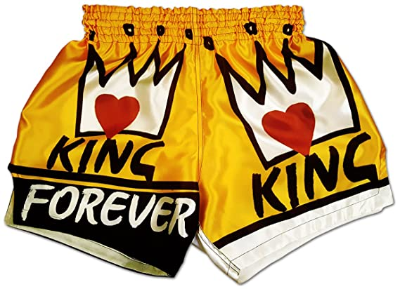 King Forever ♚ Men's Conor Mc Gregor Muay Thai Boxing Shorts Ufc Mma Mixed Martial Arts Kickboxing Trunks Royal Gold Color by Chaquetero