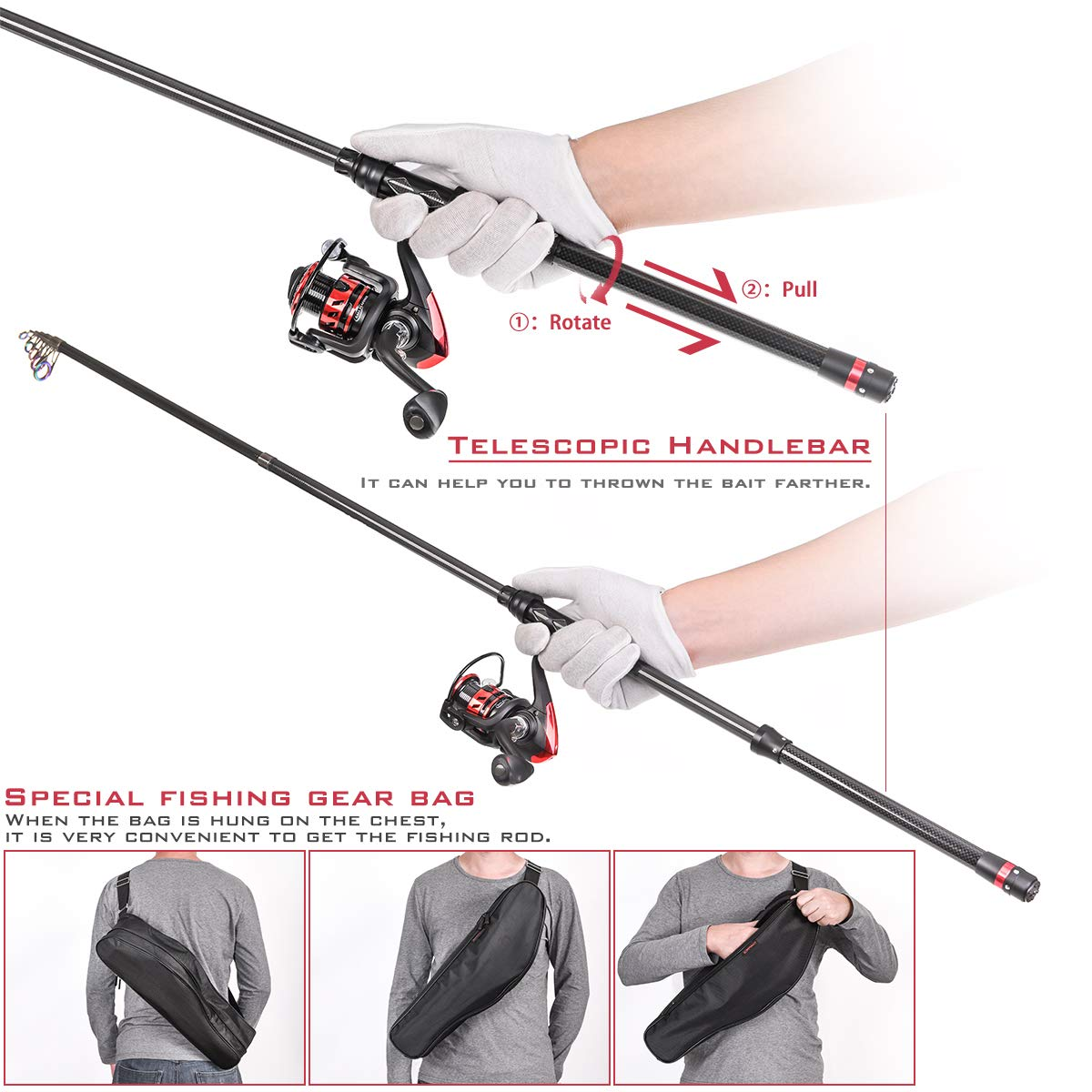CAPACI Fishing Rod Reel Combos Carbon Fiber Protable Telescopic Fishing Pole with Spinning Reel Full Kits Updated Fishing Carrier Bag for Travel Saltwater Freshwater Fishing