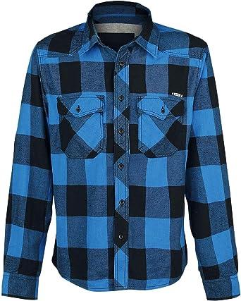 Brandit Camisa a Cuadros Hombre Camisa de Franela Negro/Azul, Labelpatch Regular: Amazon.es: Ropa y accesorios