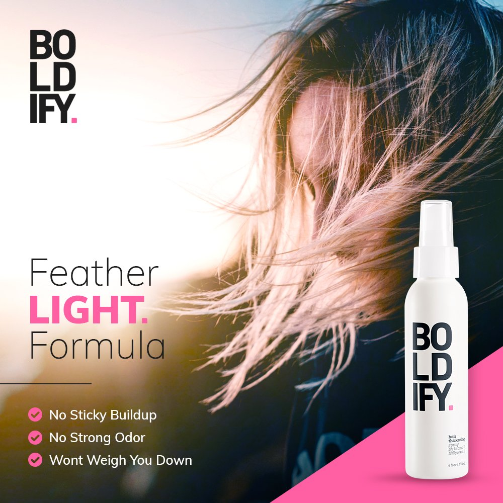 BOLDIFY Hair Thickening Spray - Get Thicker Hair in 60 Seconds - Stylist Recommended Hair Thickening Products for Volume, Texture and Lift - The Ultimate Hair Thickener for Women and Men - 8 Ounce by Boldify (Image #3)