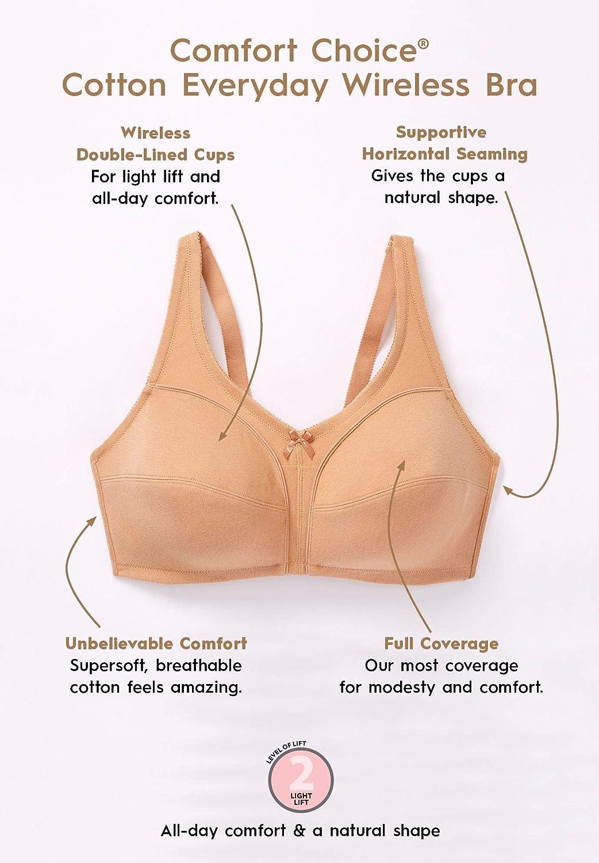 a535802ba7ceb Comfort Choice Women s Plus Size Cotton Everyday Wireless Leisure Bra at  Amazon Women s Clothing store