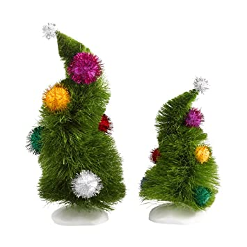 amazoncom department 56 grinch villages wonky trees set of 2 home kitchen - Grinch Christmas Decorations Amazon