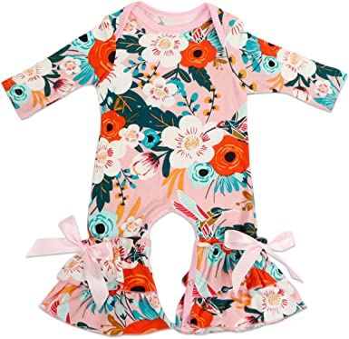 Baby Girl Icing Ruffled Romper Bodysuit Christmas Pajama Boutique Nightwear Gown