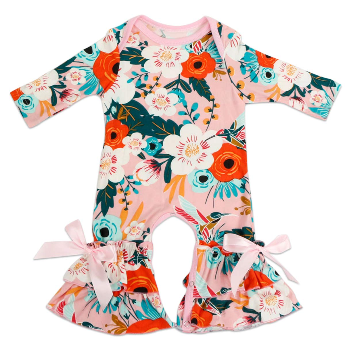 eab12a49c40 Amazon.com  FYMNSI Baby Girls Icing Ruffle Romper Floral Jumpsuit Long  Sleeve Pajamas Homewear Birthday Xmas Party Outfits  Clothing