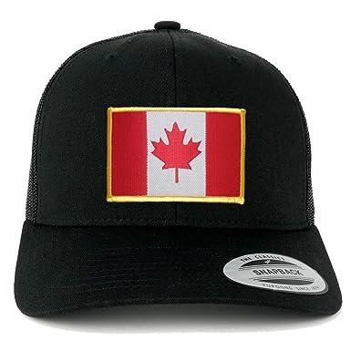 41eb9c2c8103b1 FLEXFIT Canada Flag Embroidered Iron On Patch Snapback Trucker Mesh Cap