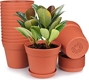 HOMENOTE Plant Pots, 15 Pack Terra Plastic Flower Pots Outdoor Garden Planters with Multiple Drain Holes and Saucer - 6 inch Indoor Small Plant Pots for All Home, Terra Cotta