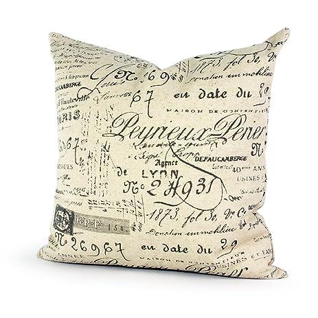 Lavievert Decorative Ramie Cotton Square Throw Pillow Cover Cushion Case Khaki Background Words Pattern Toss Pillowcase