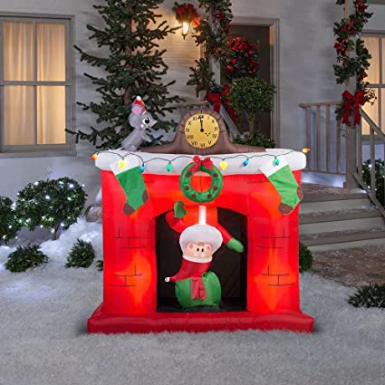 gemmy airblown inflatable animated santa popping up and down in fireplace holiday indoor outdoor decoration - Fireplace Christmas Decorations Amazon