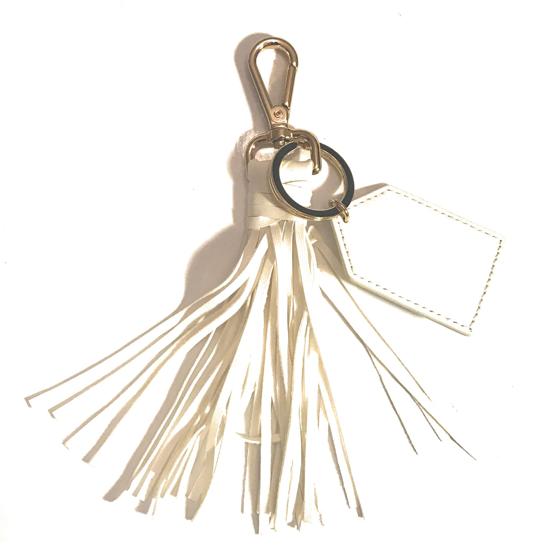 Women's Leather Tassel Charm Handbag Wallet Accessories Key Rings Keychain Monogram, Graduation, by JAYLISHA (Blanco)